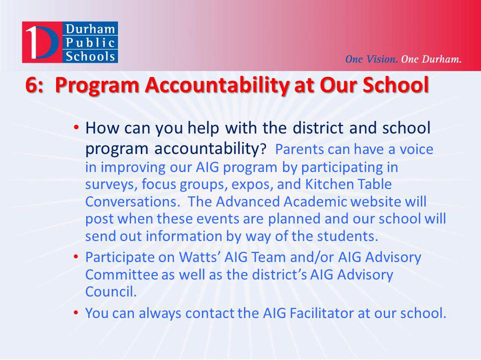 6: Program Accountability at Our School
