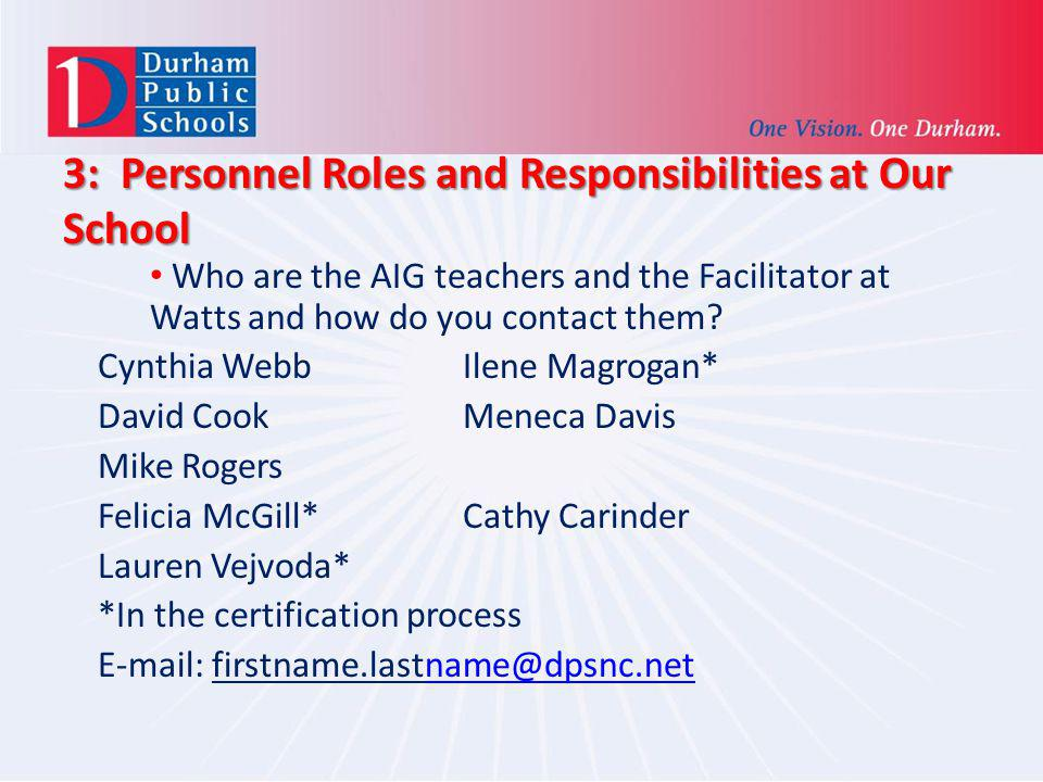 3: Personnel Roles and Responsibilities at Our School
