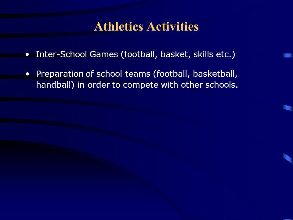 Athletics Activities Inter-School Games (football, basket, skills etc.)