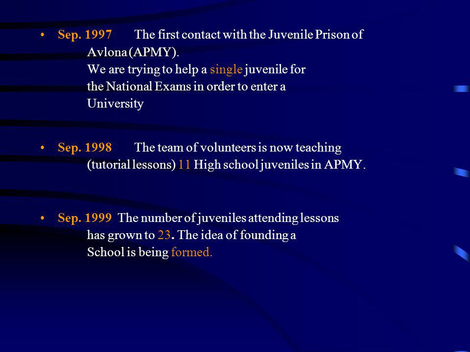Sep. 1997 The first contact with the Juvenile Prison of Avlona (APMY). We are trying to help a single juvenile for the National Exams in order to enter a University