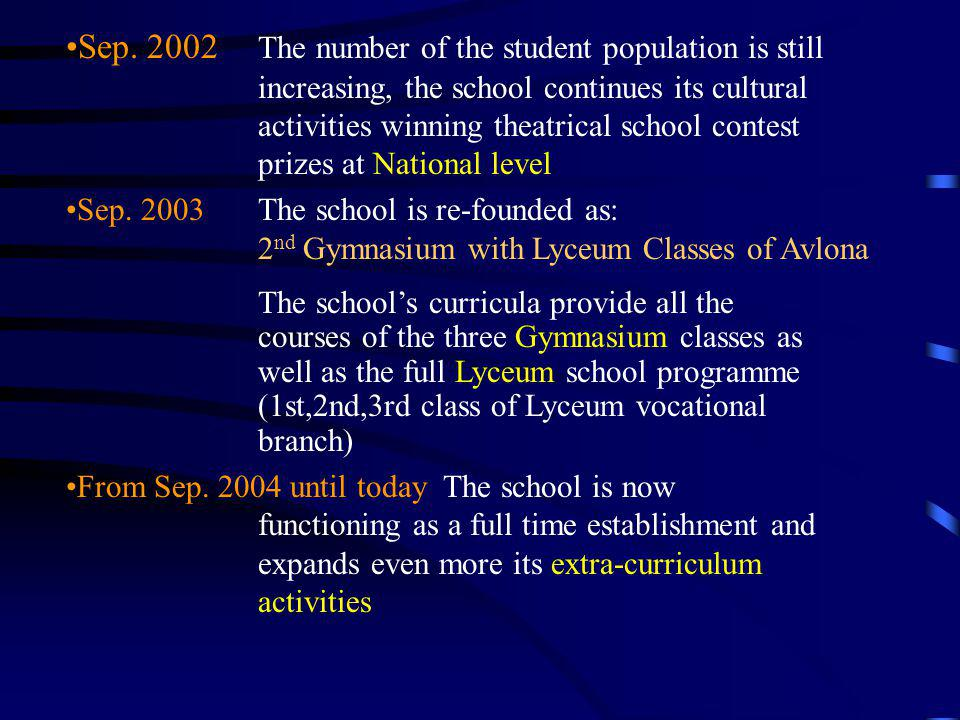 Sep. 2002. The number of the student population is still