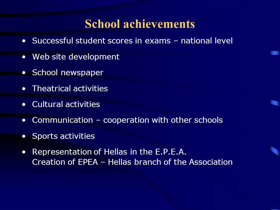 School achievements Successful student scores in exams – national level. Web site development. School newspaper.
