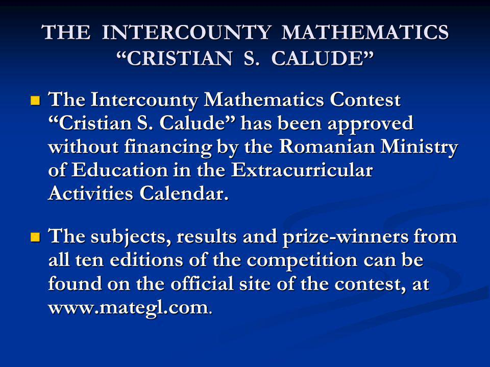 THE INTERCOUNTY MATHEMATICS CRISTIAN S. CALUDE