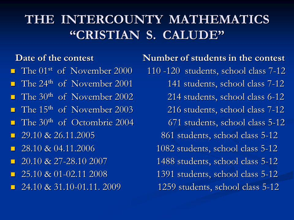 THE INTERCOUNTY MATHEMATICS CRISTIAN S. CALUDE