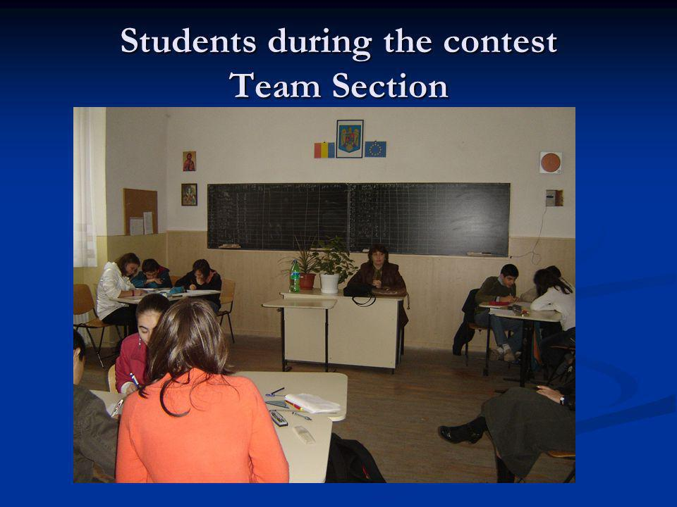 Students during the contest Team Section