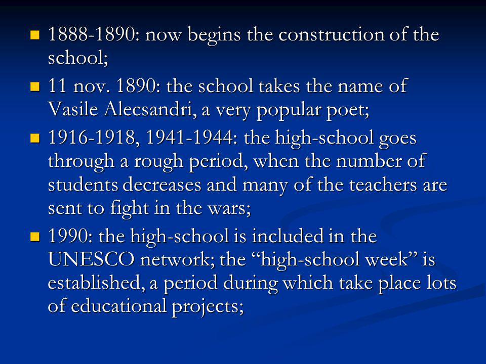 1888-1890: now begins the construction of the school;