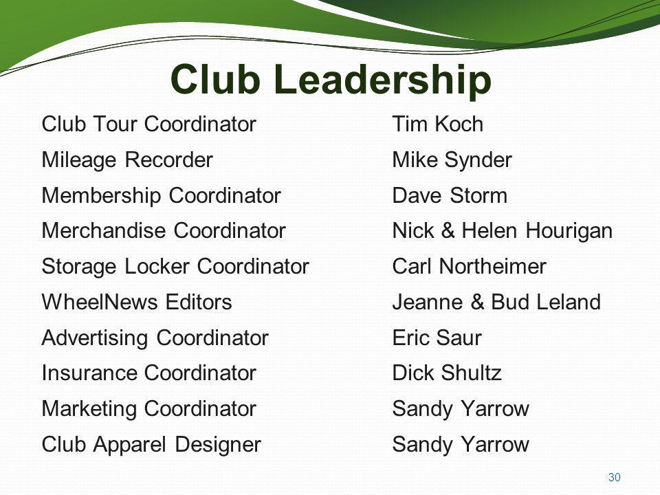Club Leadership Club Tour Coordinator Tim Koch