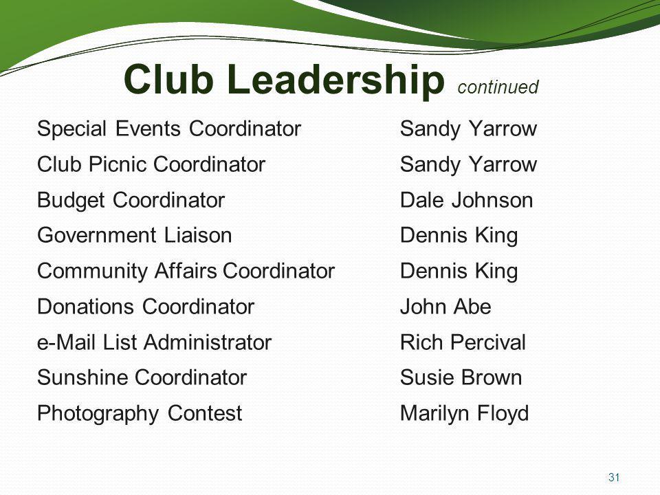 Club Leadership continued