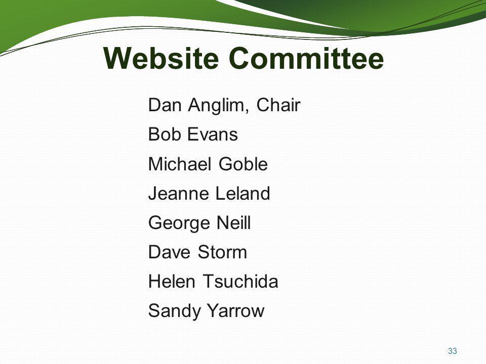 Website Committee Dan Anglim, Chair Bob Evans Michael Goble