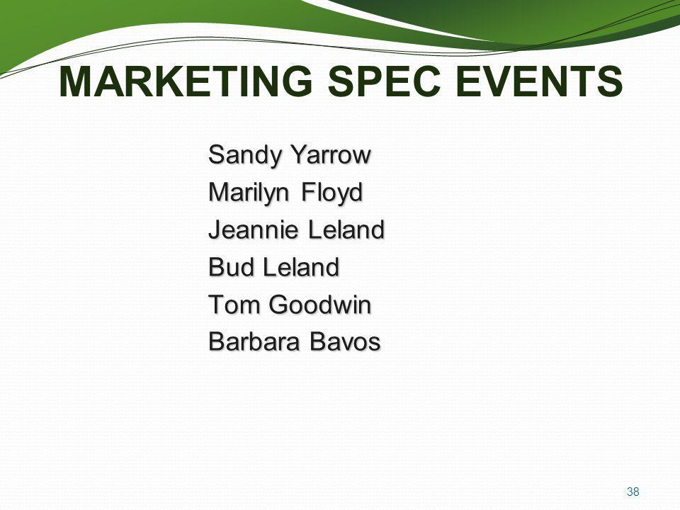 MARKETING SPEC EVENTS Sandy Yarrow Marilyn Floyd Jeannie Leland Bud Leland Tom Goodwin Barbara Bavos