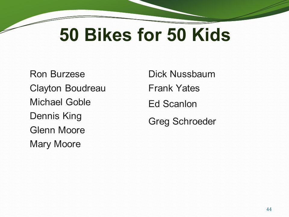 50 Bikes for 50 Kids Ron Burzese Dick Nussbaum Clayton Boudreau