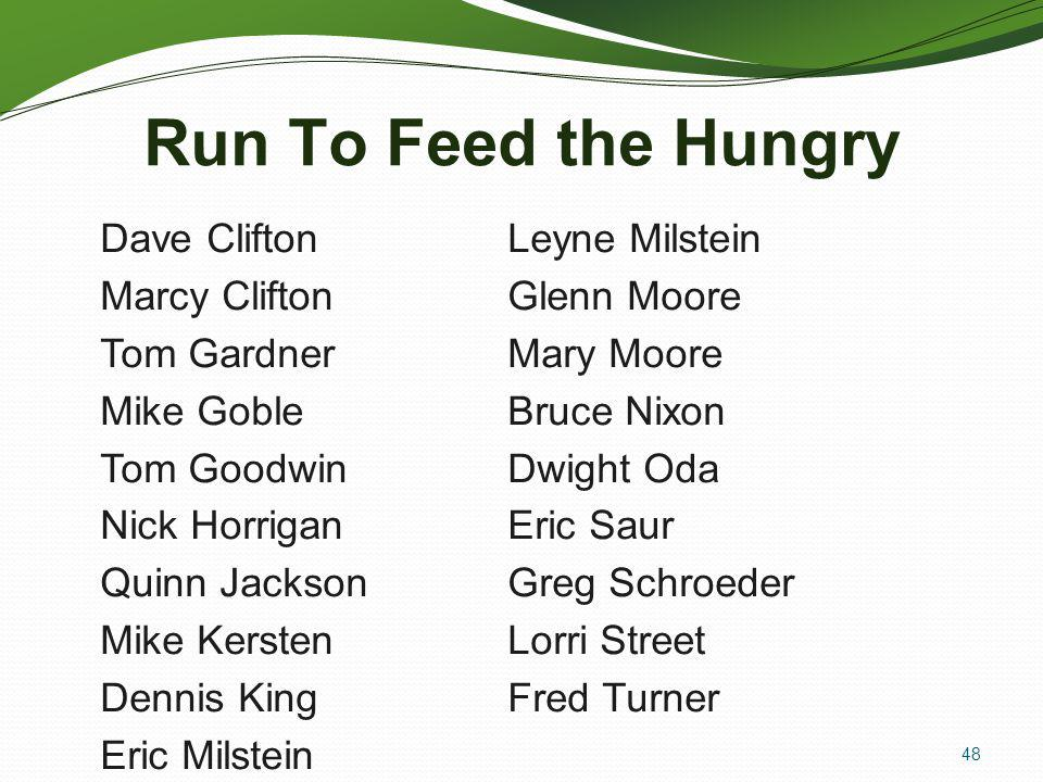 Run To Feed the Hungry Dave Clifton Leyne Milstein Marcy Clifton