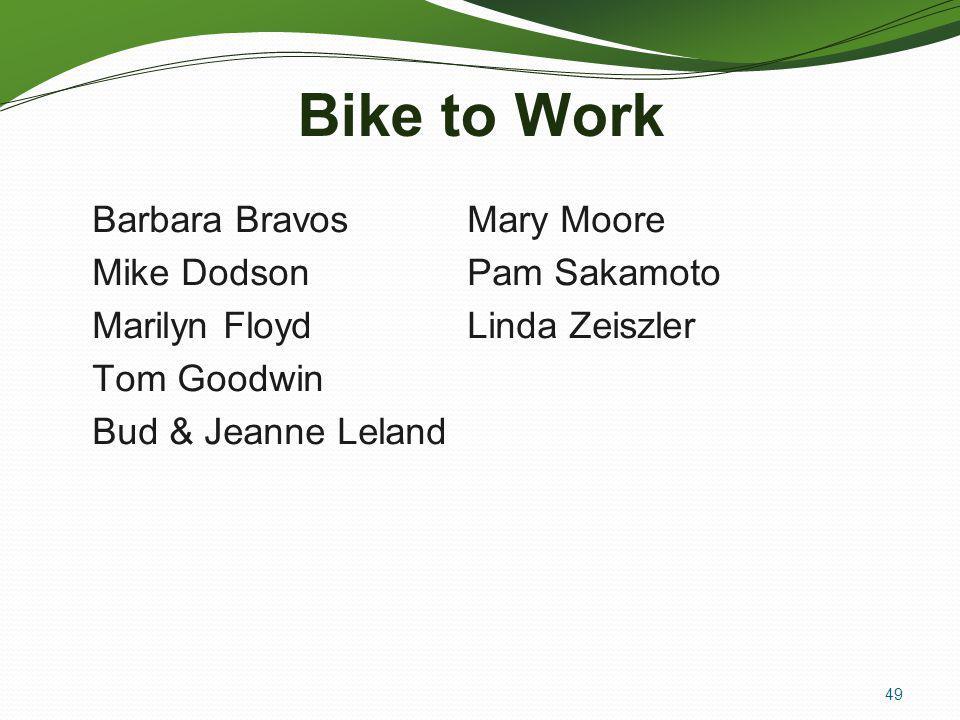 Bike to Work Barbara Bravos Mike Dodson Marilyn Floyd Tom Goodwin Bud & Jeanne Leland Mary Moore Pam Sakamoto Linda Zeiszler