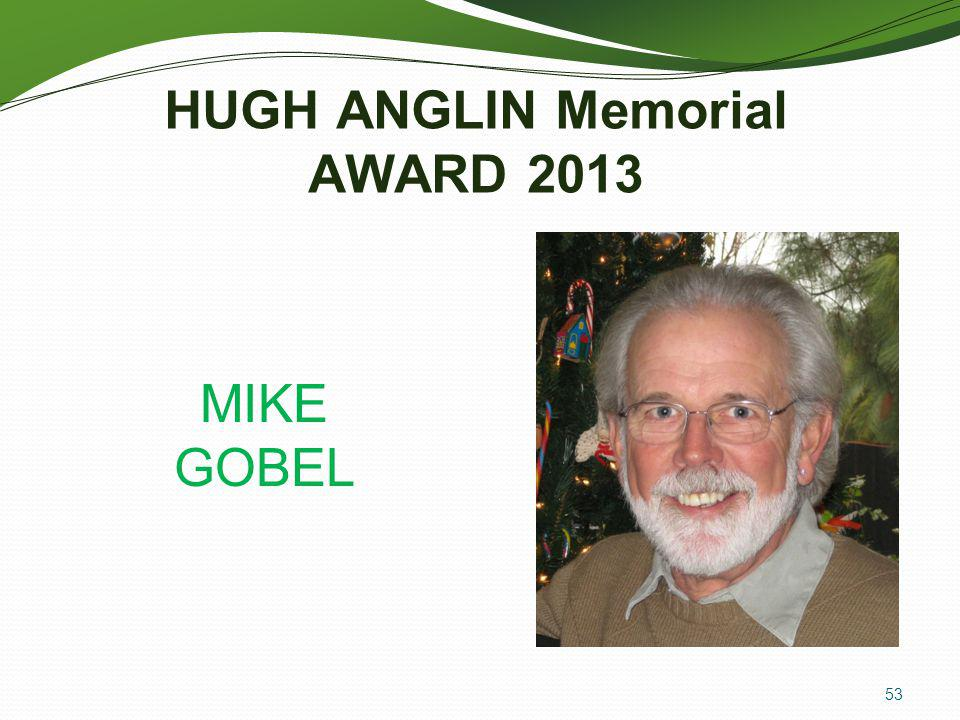 HUGH ANGLIN Memorial AWARD 2013
