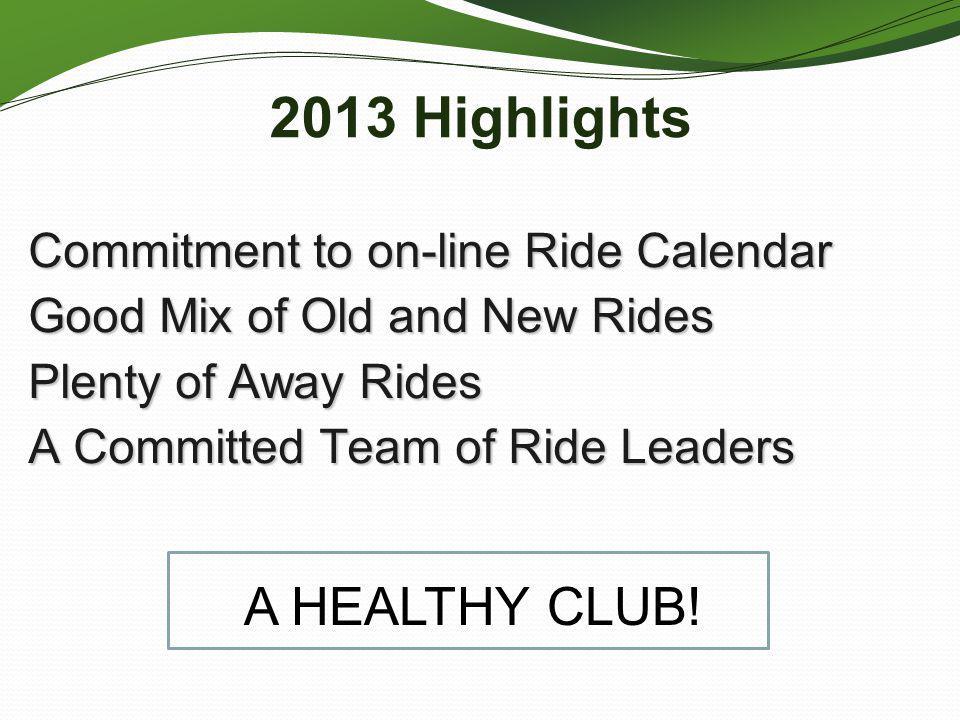 2013 Highlights l A HEALTHY CLUB!