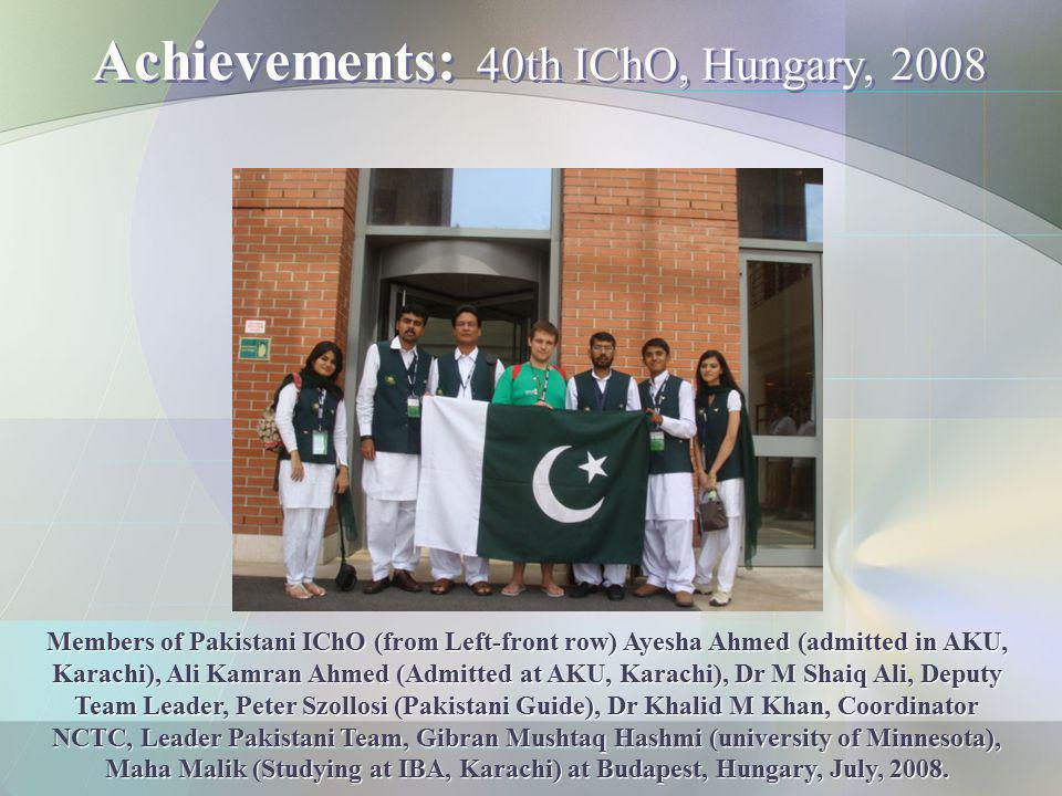Achievements: 40th IChO, Hungary, 2008