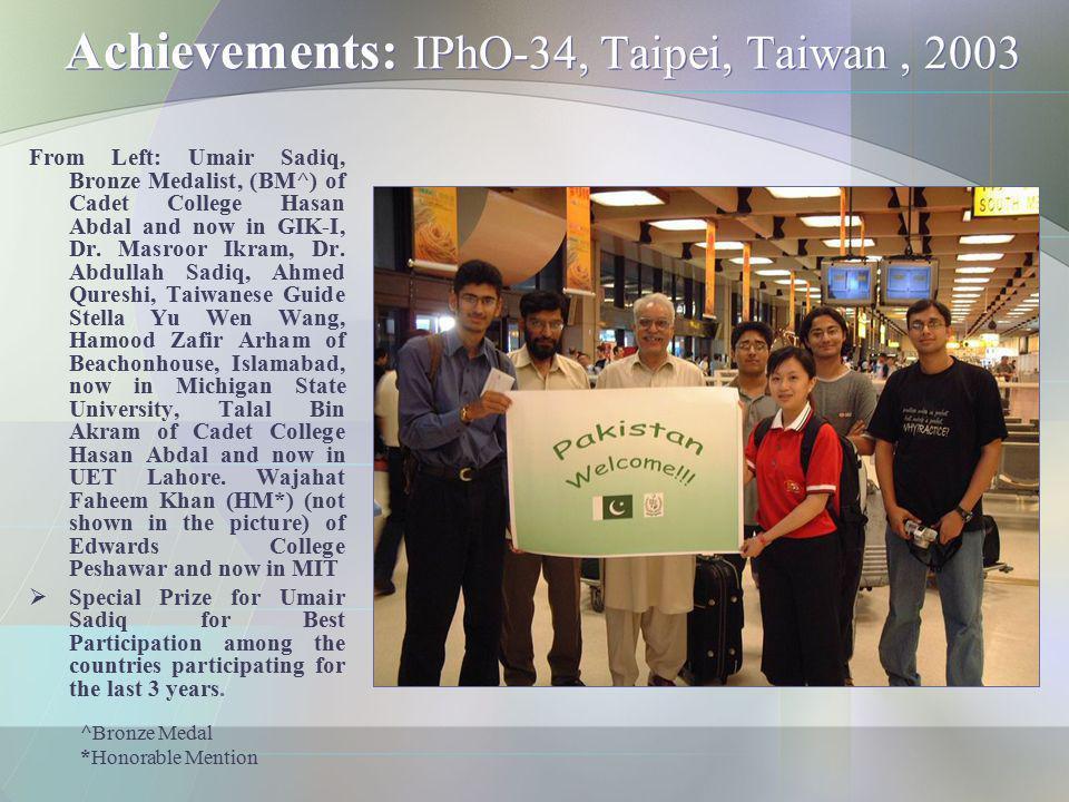 Achievements: IPhO-34, Taipei, Taiwan , 2003