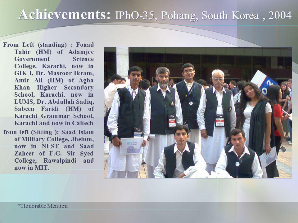 Achievements: IPhO-35, Pohang, South Korea , 2004