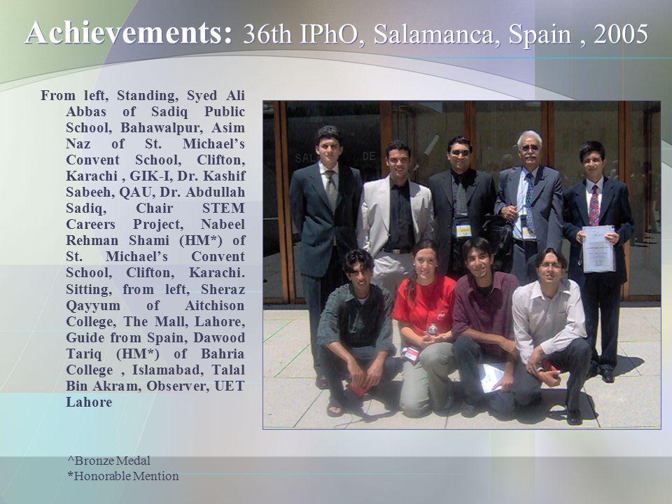 Achievements: 36th IPhO, Salamanca, Spain , 2005