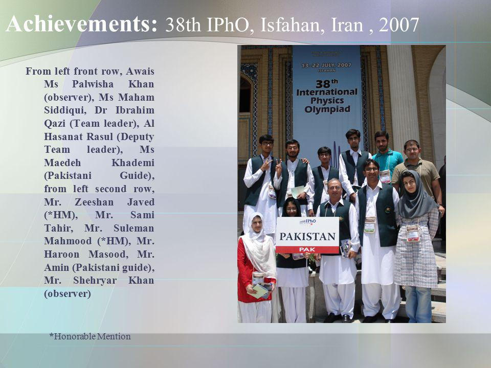 Achievements: 38th IPhO, Isfahan, Iran , 2007