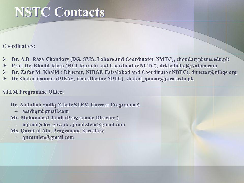 NSTC Contacts Coordinators: