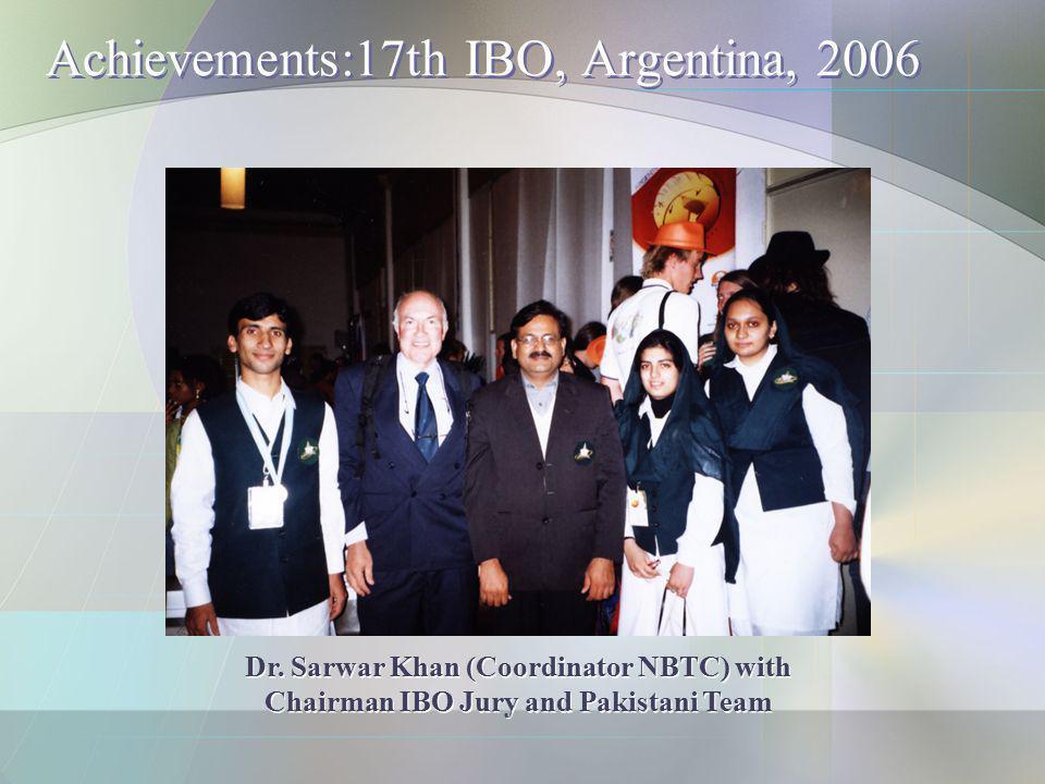 Achievements:17th IBO, Argentina, 2006