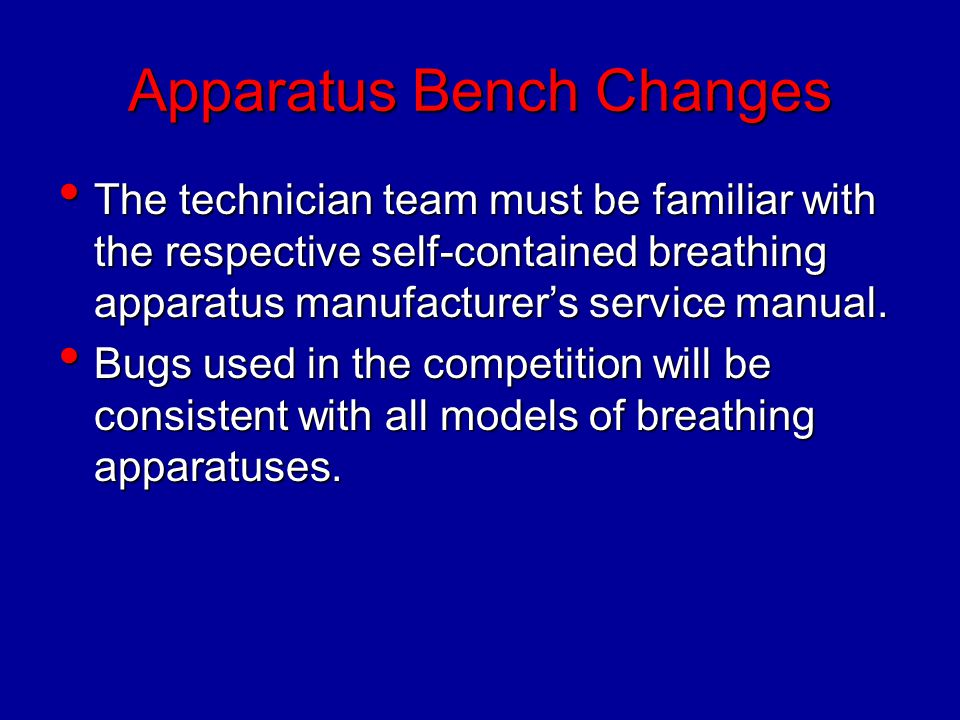 Apparatus Bench Changes