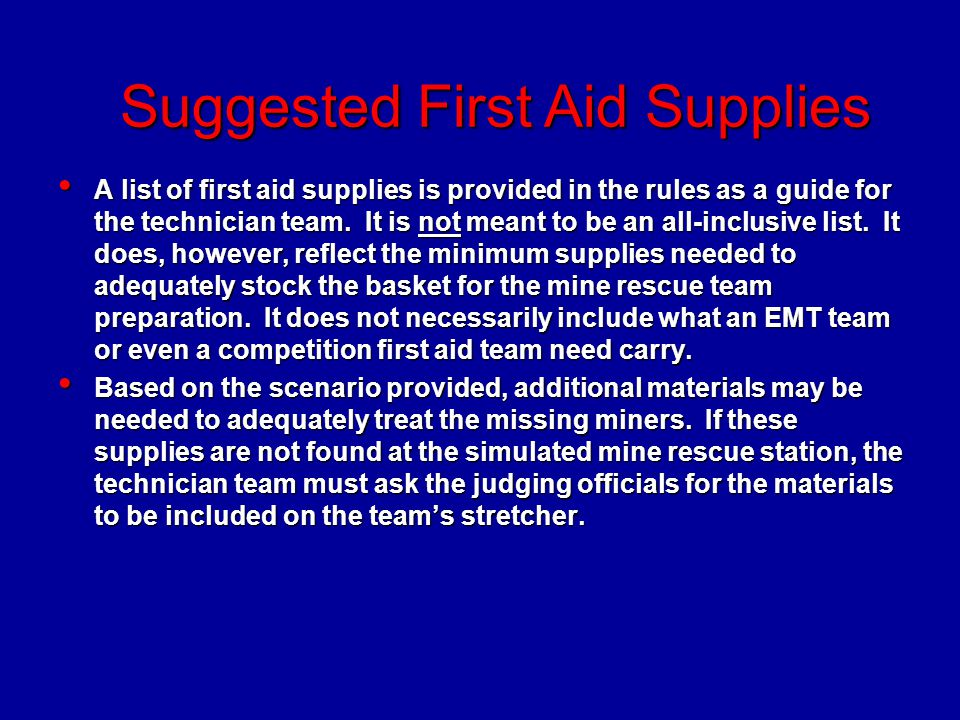 Suggested First Aid Supplies