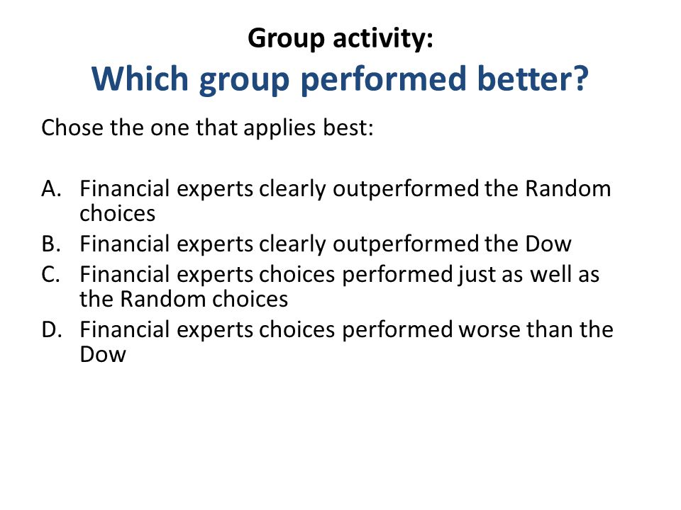 Group activity: Which group performed better