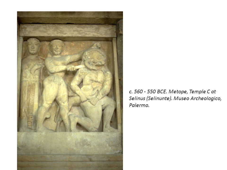 c. 560 - 550 BCE. Metope, Temple C at Selinus (Selinunte)