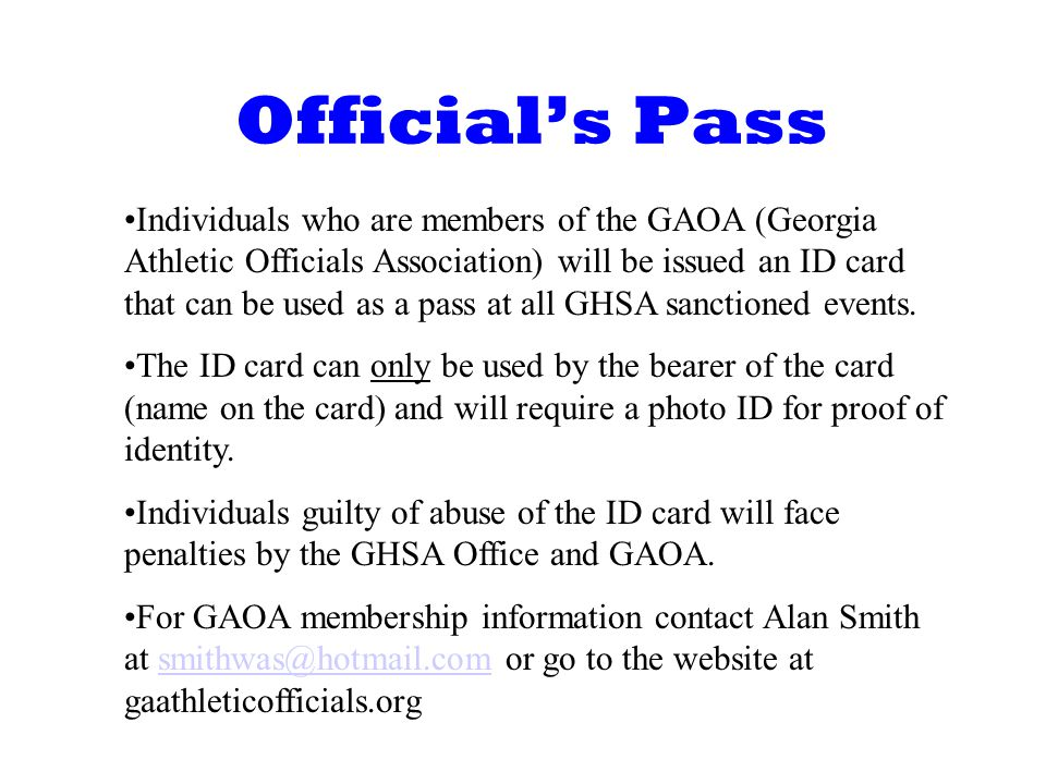 Official's Pass