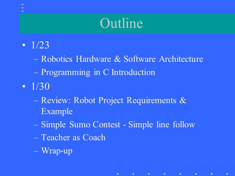 Outline 1/23 1/30 Robotics Hardware & Software Architecture