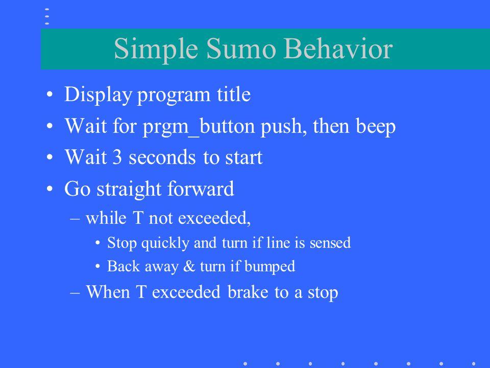 Simple Sumo Behavior Display program title
