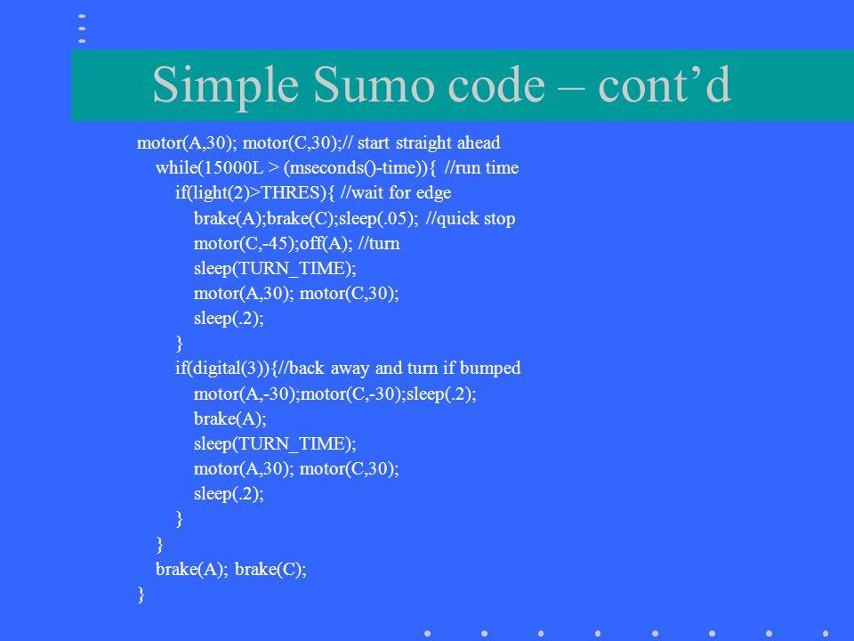 Simple Sumo code – cont'd
