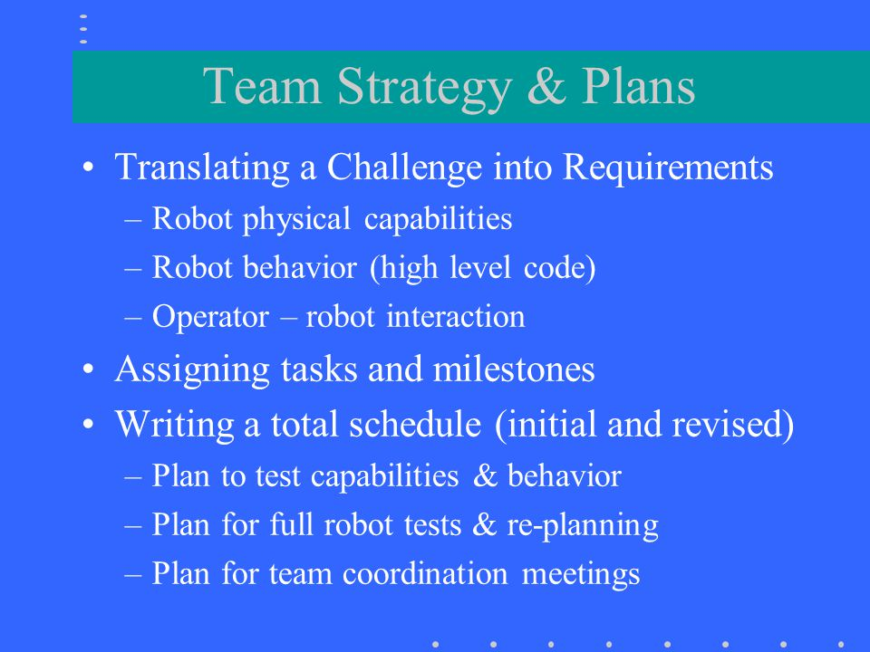 Team Strategy & Plans Translating a Challenge into Requirements