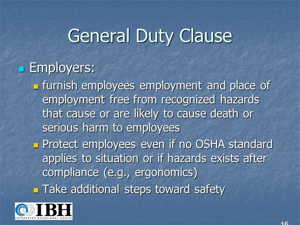 General Duty Clause Employers: