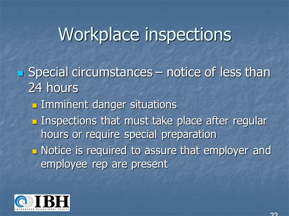 Workplace inspections