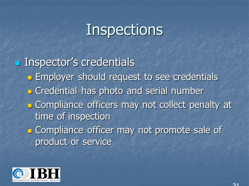 Inspections Inspector's credentials
