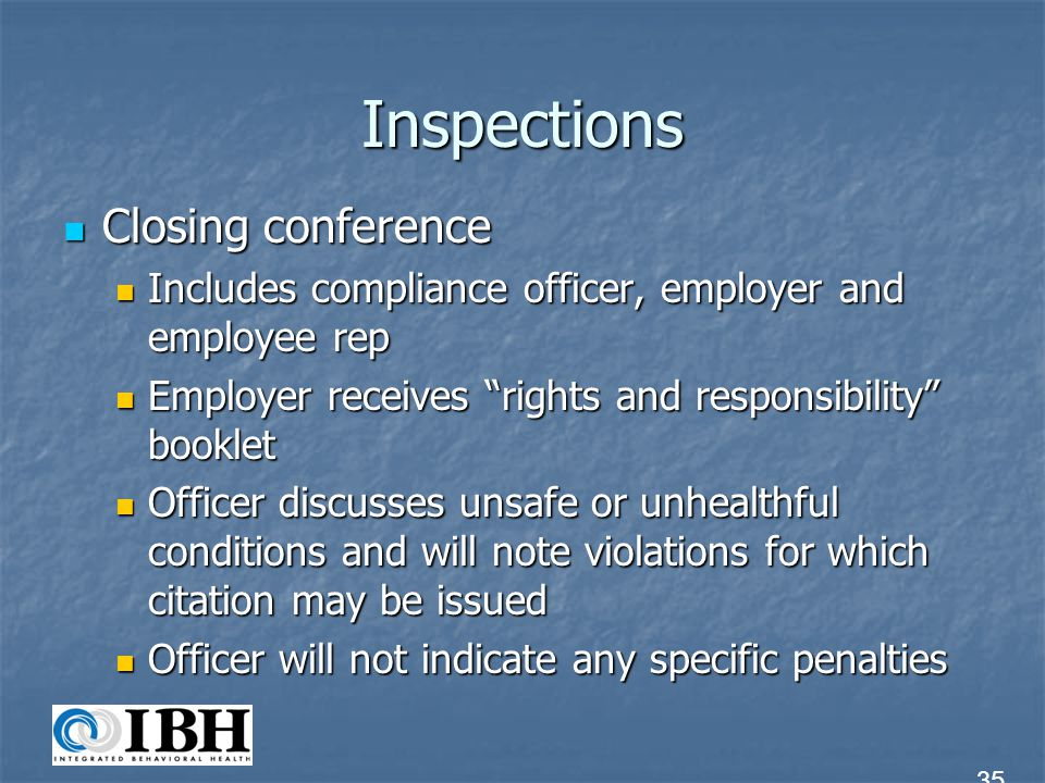 Inspections Closing conference
