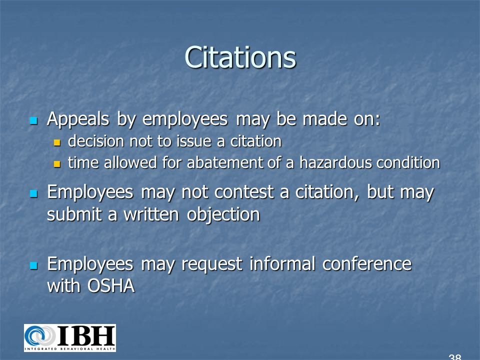 Citations Appeals by employees may be made on: