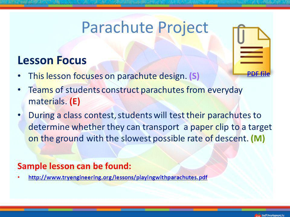 Parachute Project Lesson Focus