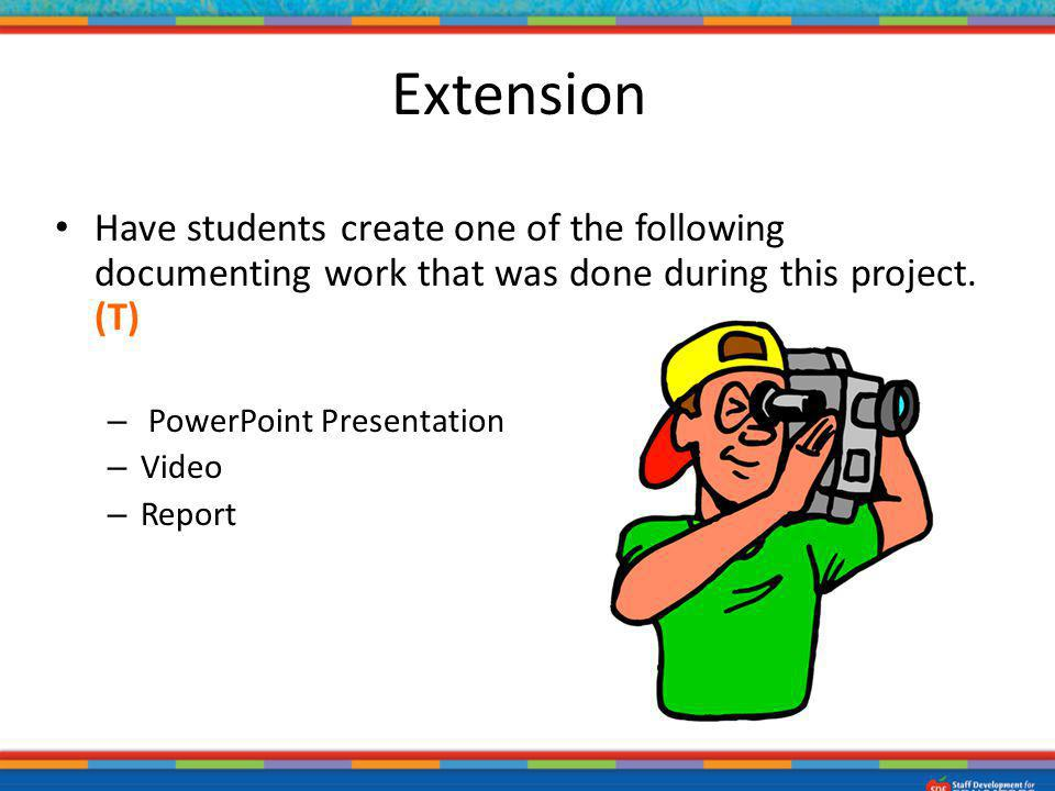 Extension Have students create one of the following documenting work that was done during this project. (T)