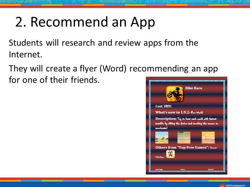 2. Recommend an App