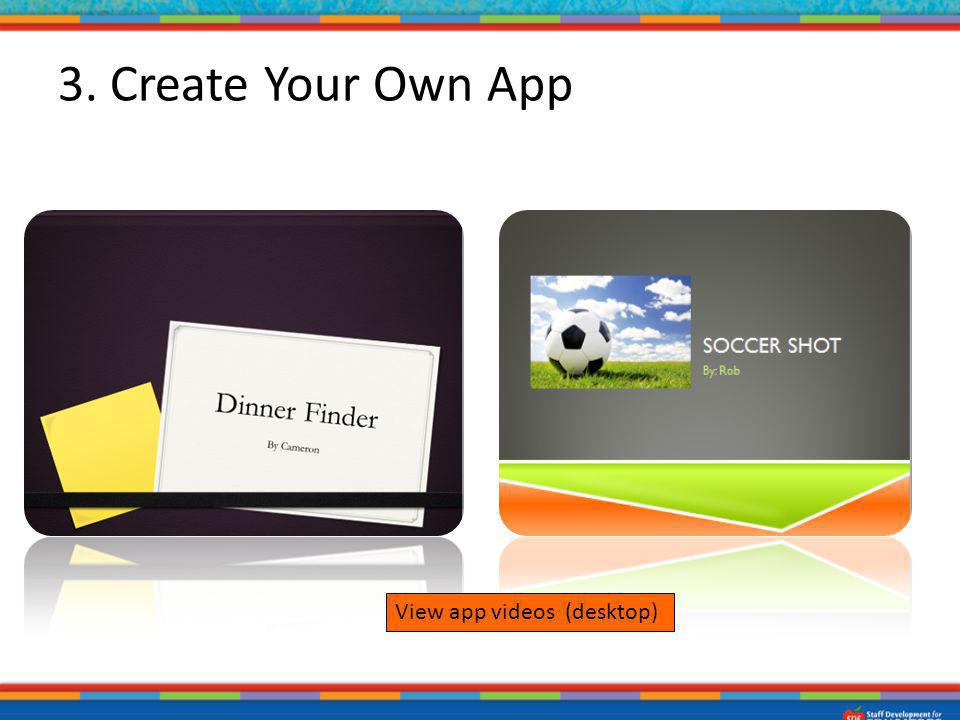 3. Create Your Own App Using PowerPoint – students create their own app. Examples – Dinner Finder, Soccer Shot.