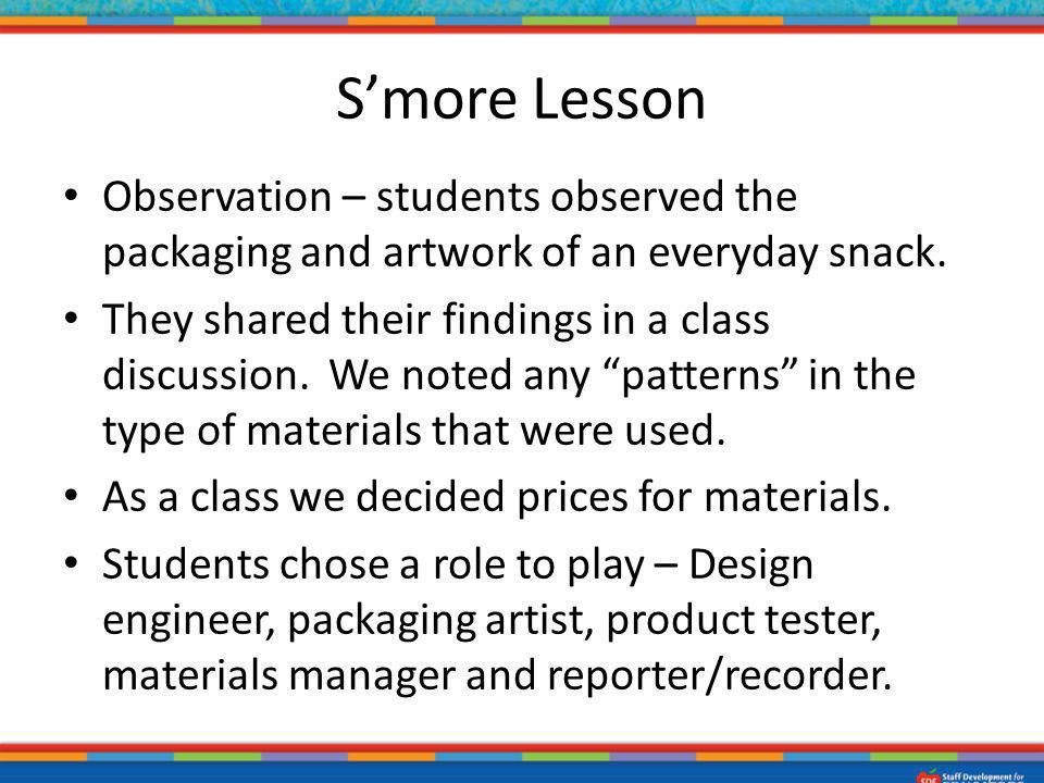 S'more Lesson Observation – students observed the packaging and artwork of an everyday snack.