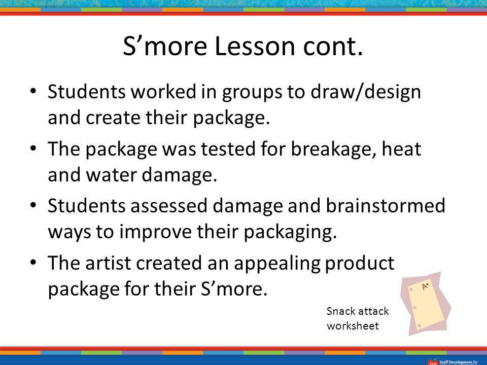 S'more Lesson cont. Students worked in groups to draw/design and create their package. The package was tested for breakage, heat and water damage.