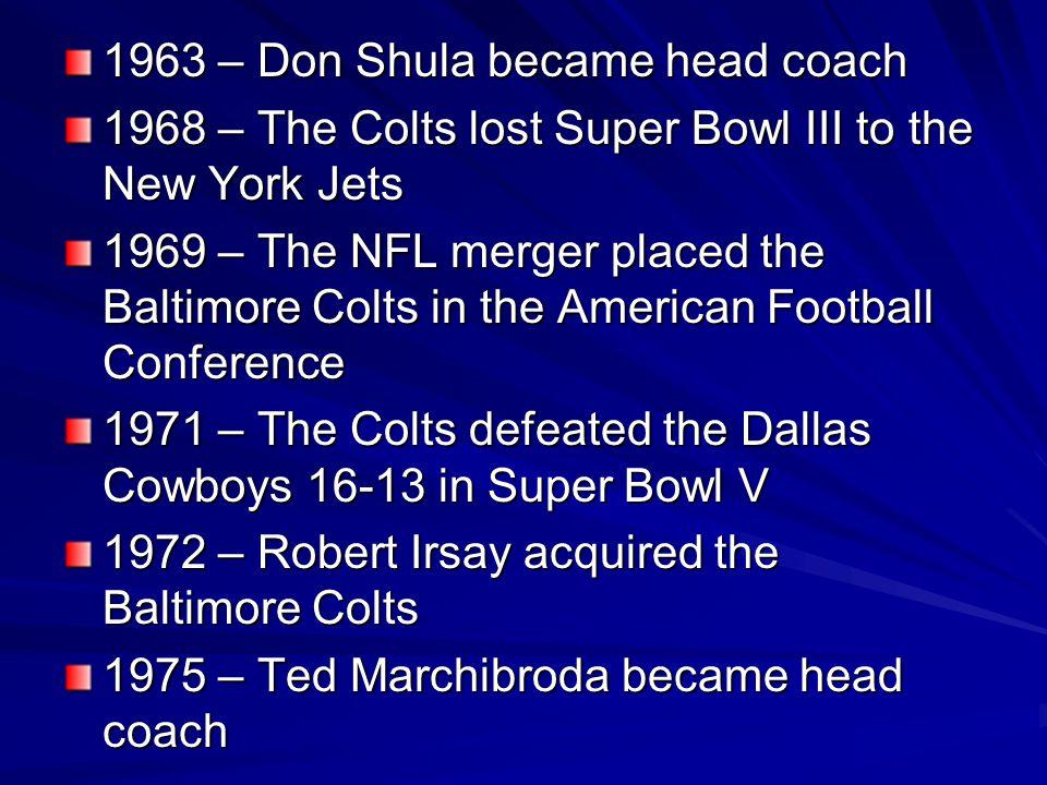 1963 – Don Shula became head coach