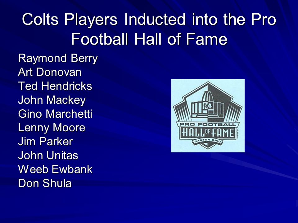 Colts Players Inducted into the Pro Football Hall of Fame
