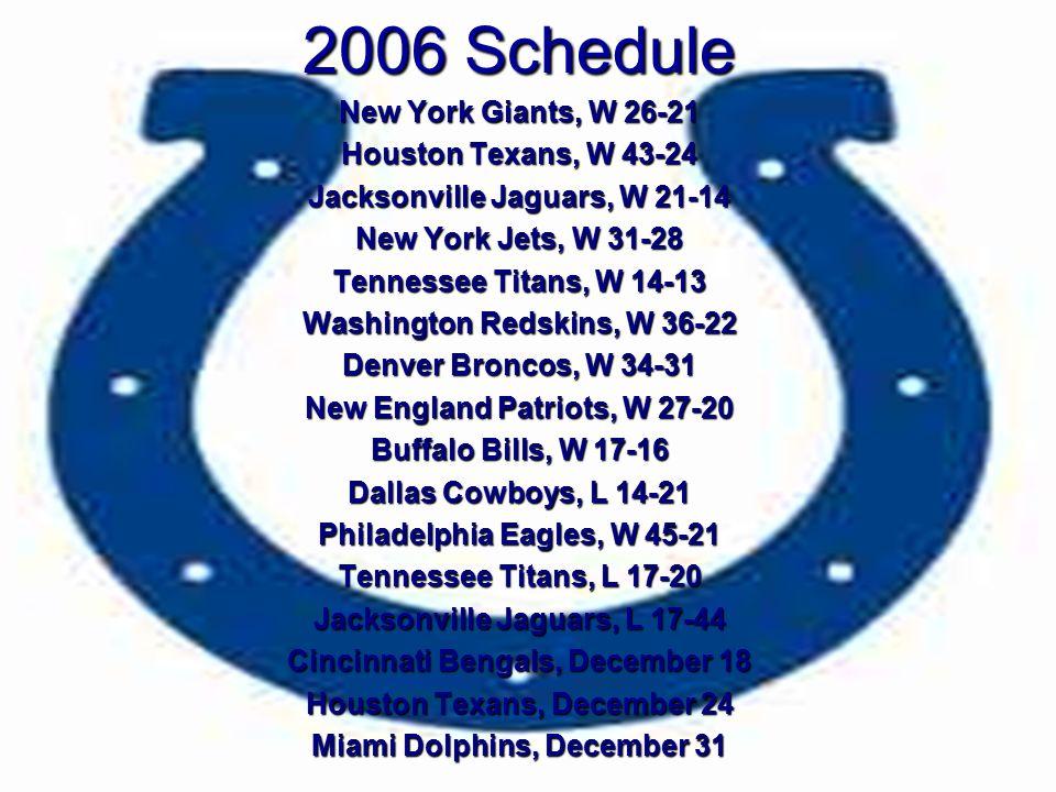 2006 Schedule New York Giants, W 26-21 Houston Texans, W 43-24