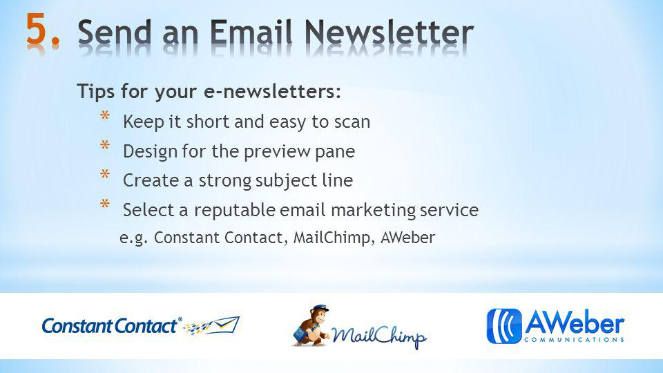 Send an  Newsletter